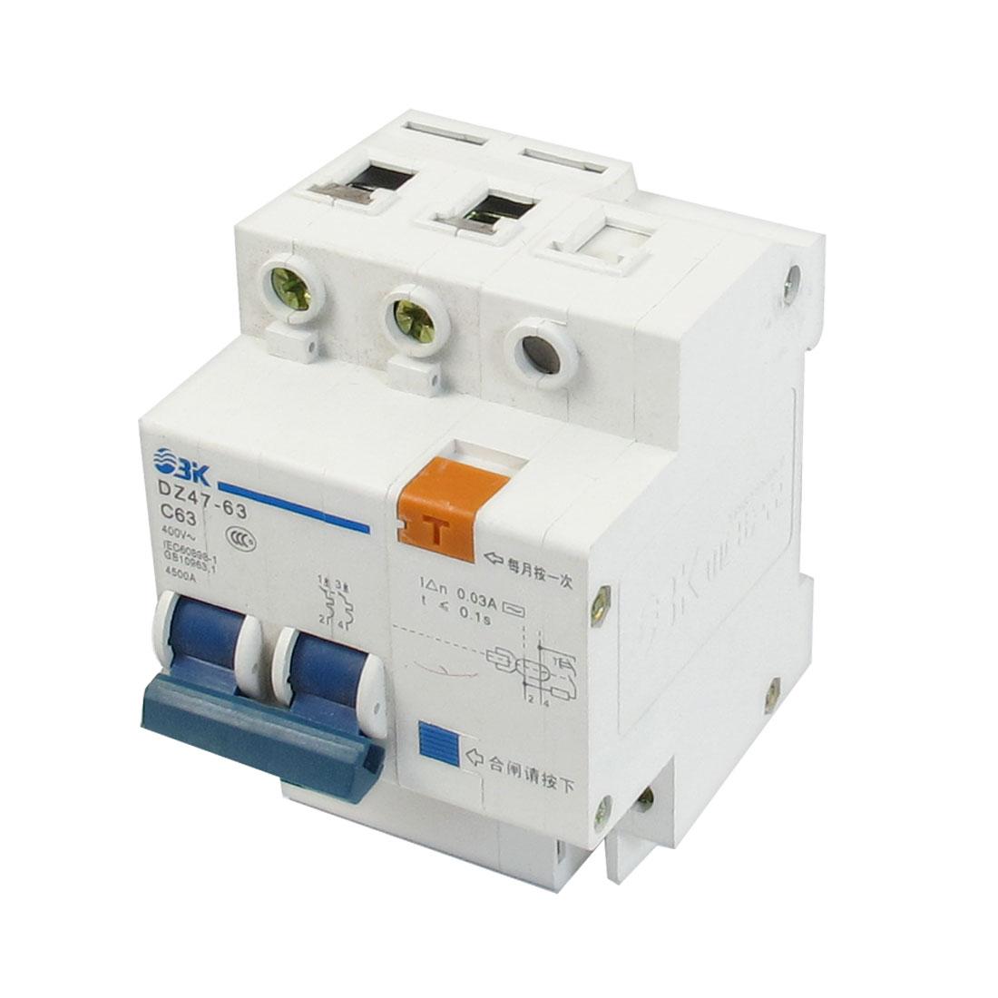 AC 400V 63A 4500A Breaking Capacity DIN Rail 2P+N Earth Leakage Circuit Breaker