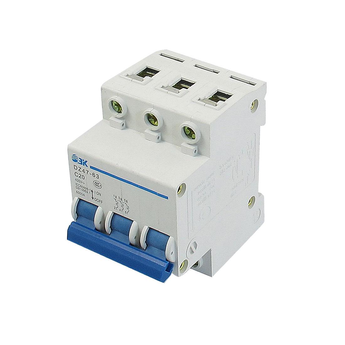 6000A Breaking Capacity DIN Rail 3P Electric Circuit Breaker AC 400V 20A