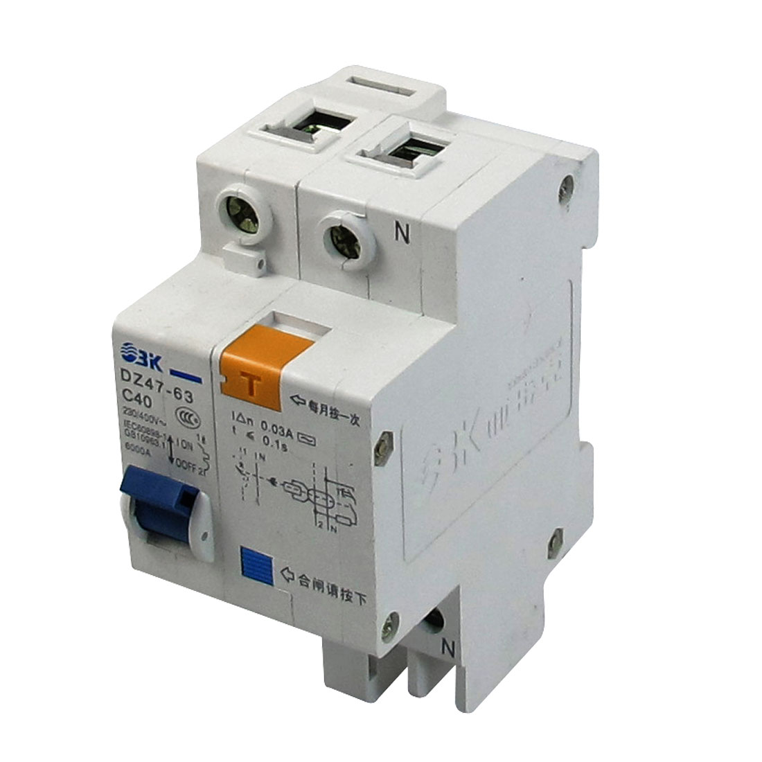 AC 230V/400V 40A 6000A Breaking Capacity DIN Rail 1P+N Earth Leakage Circuit Breaker