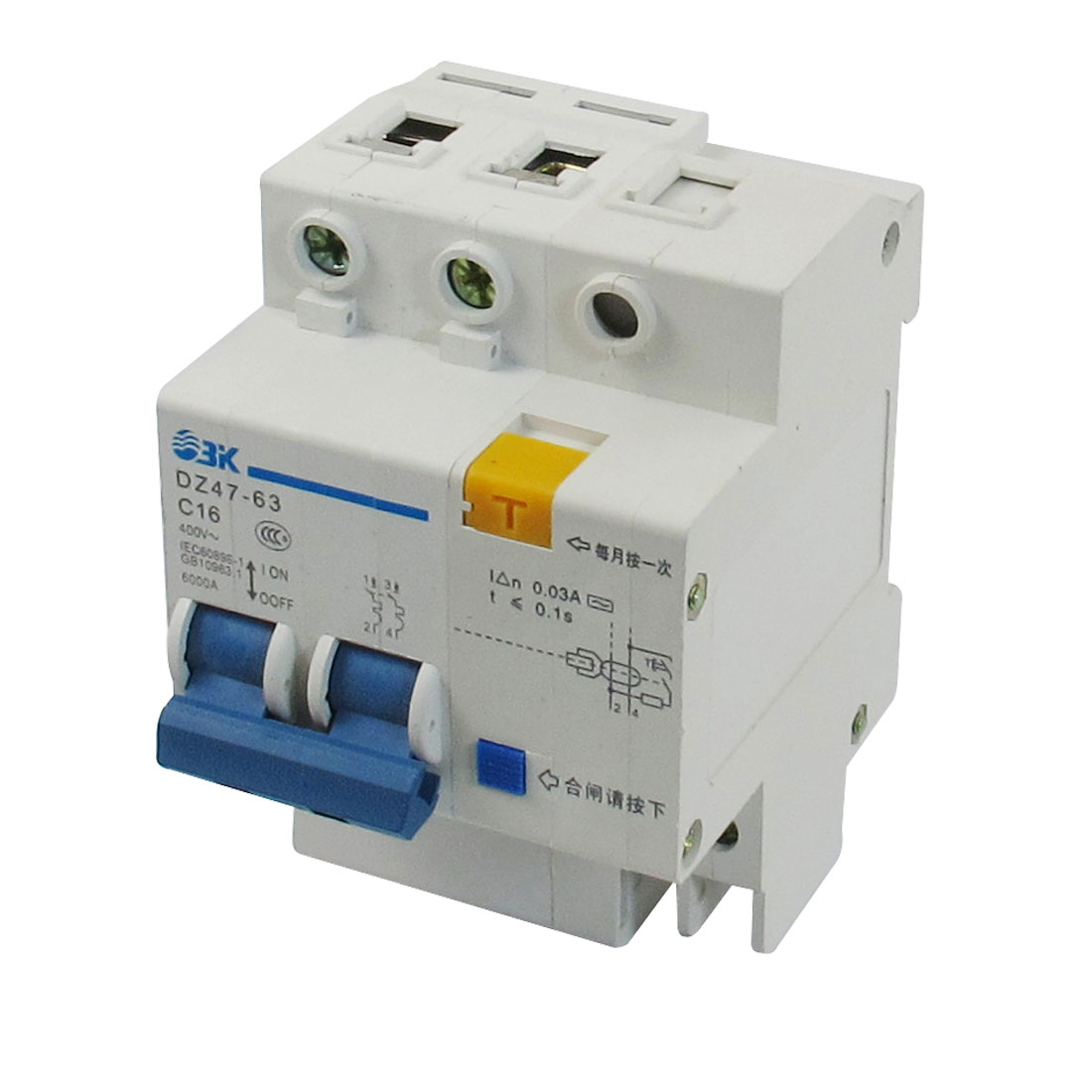 AC 400V 16A 6000A Breaking Capacity DIN Rail 2P+N Earth Leakage Circuit Breaker