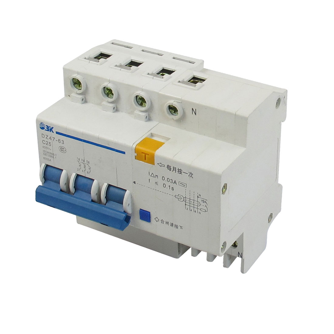 6000A Breaking Capacity DIN Rail 3P+N Earth Leakage Circuit Breaker AC 400V 25A