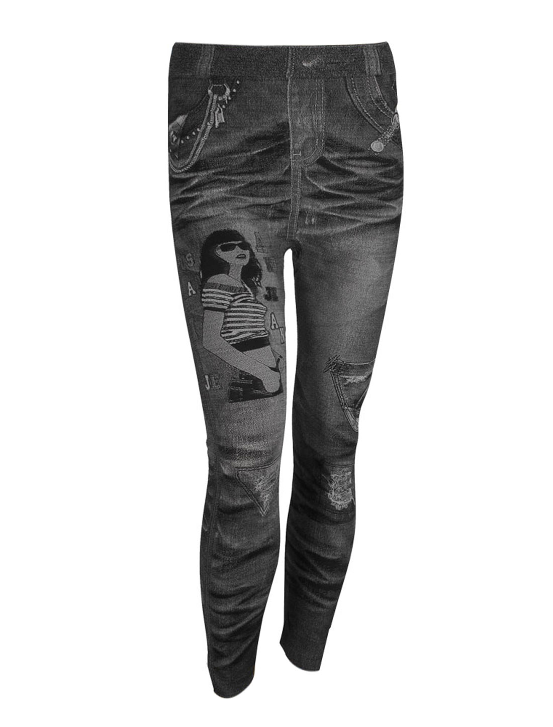 Ladies Elastic Waist Portrait Pattern Skinny Leggings Gray XS