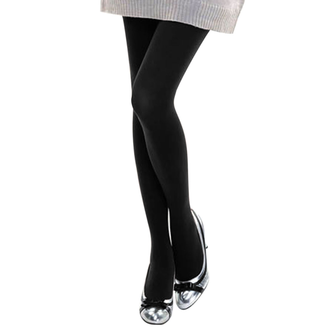 Ladies Black Elastic Waist Closefitting Footed Pantyhose Tights XS