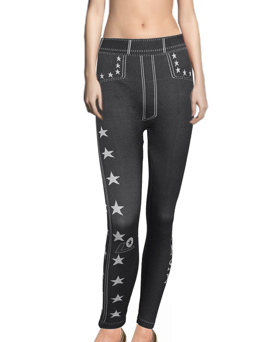 Ladies Stars Pattern Black Denim Style Leggings Pantyhose K1693 S