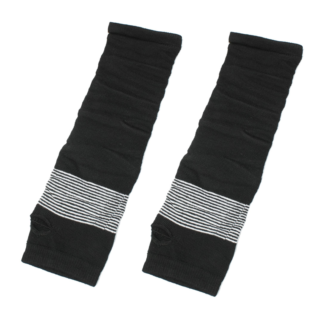 Pair White Black Stripes Acrylic Fingerless Arm Warmers Gloves for Girls