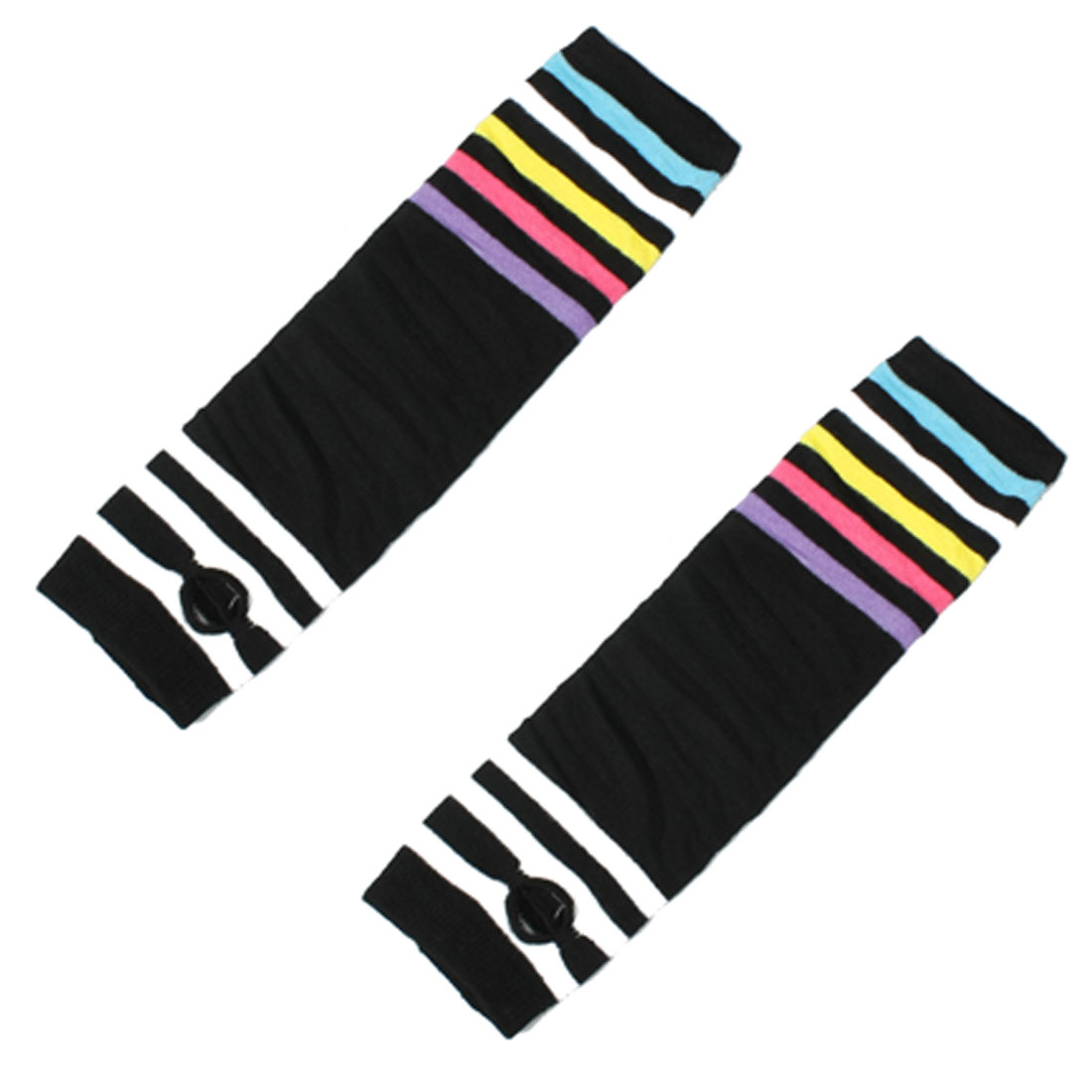 Assorted Color Stripes Acrylic Fingerless Arm Warmers Black Gloves for Women