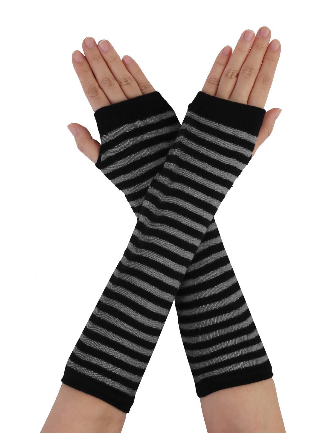 Thumbless Fingerless Knitted Arm Long Striped Gloves Warmers Black Gray Pair