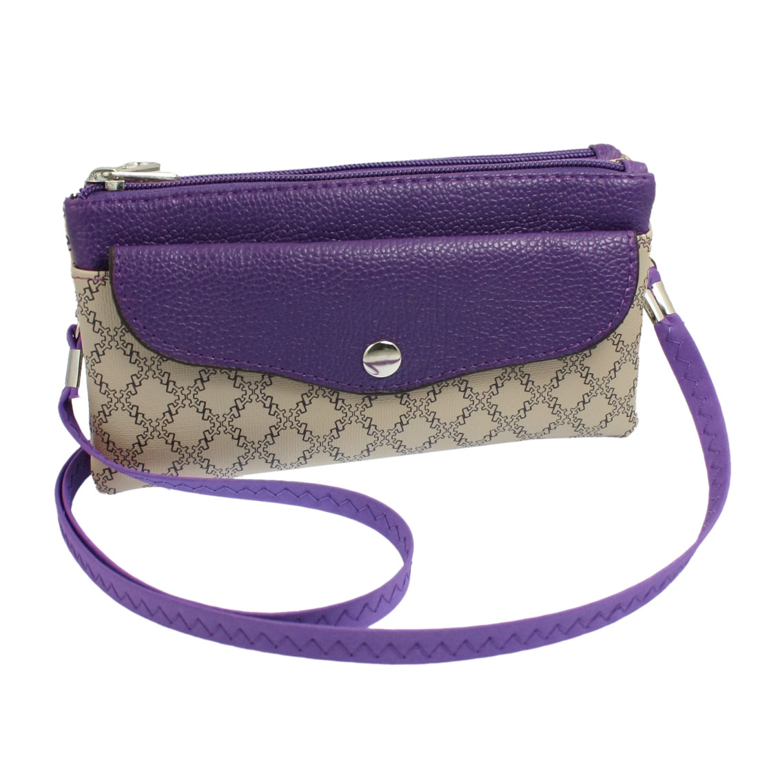 Purple Beige Square Print Faux Leather Zippered Purse Shoulder Bag for Ladies