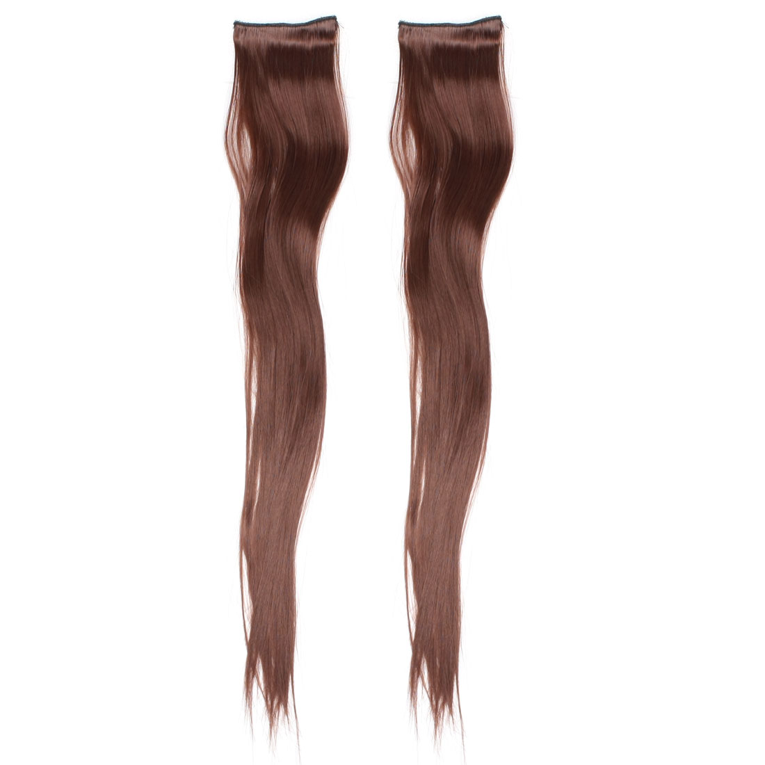 "2 Pcs 23"" Headdress Long Straight DIY Ponytail Deep Brown Wig for Lady"