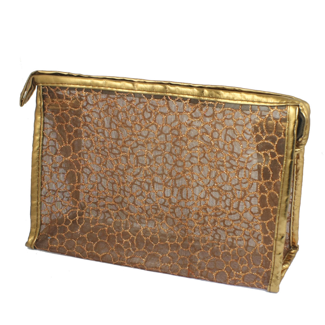 Brown PU Plastic Glittery Mesh Zipper Makeup Cosmetic Bag for Lady Girls