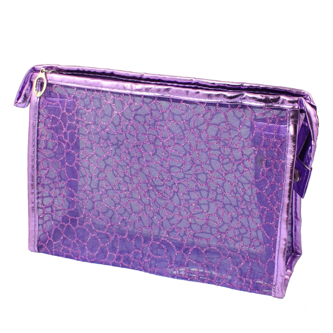 Purple PU Plastic Glittery Mesh Zipper Makeup Cosmetic Bag for Lady Girls