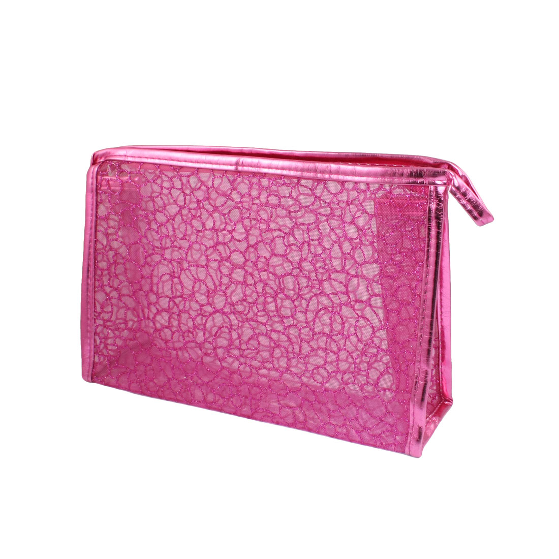 Fuchsia PU Plastic Glittery Mesh Zipper Makeup Cosmetic Bag for Lady Girls