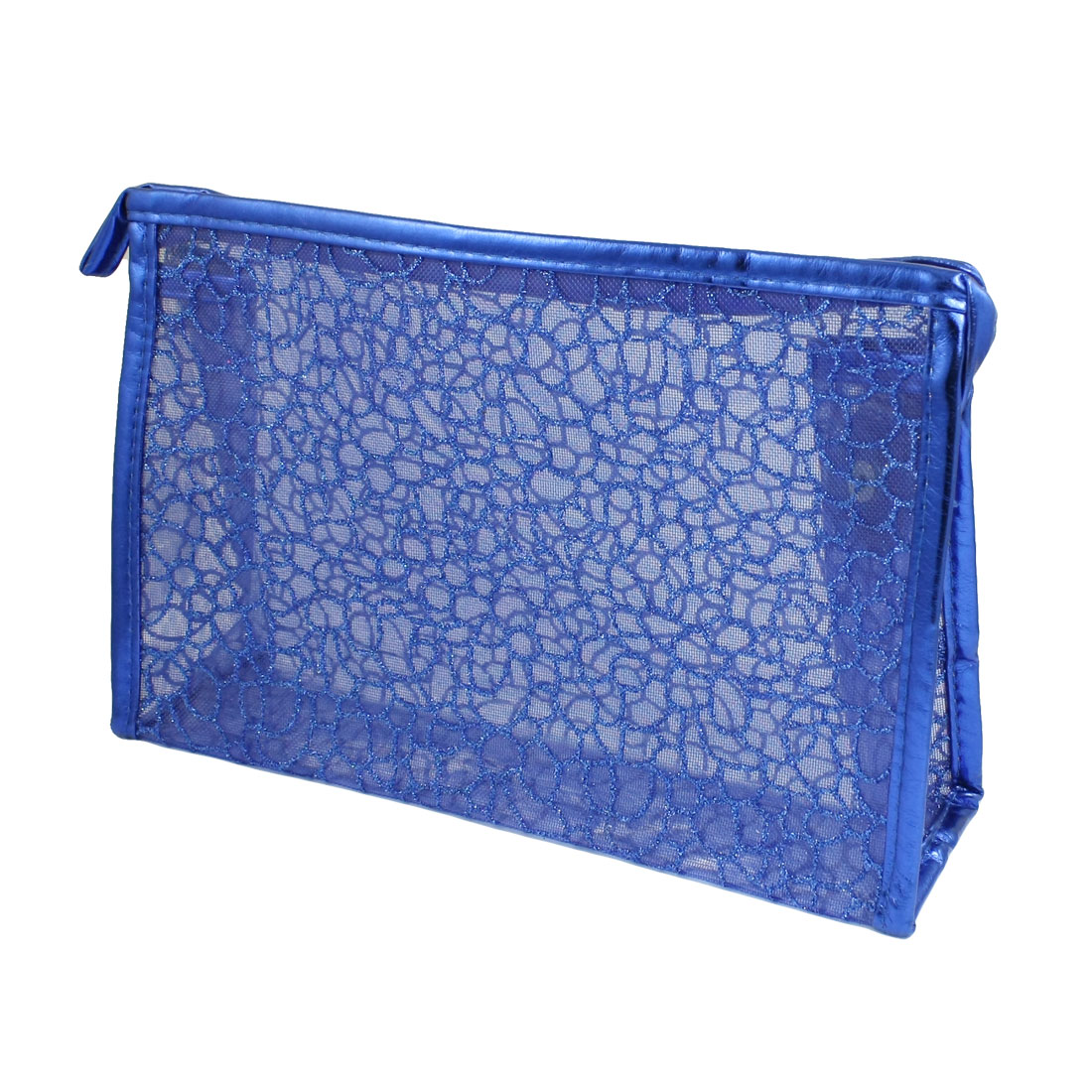 Blue Rectangle Shaped PU Plastic Glittery Mesh Cosmetic Bag Holder for Lady