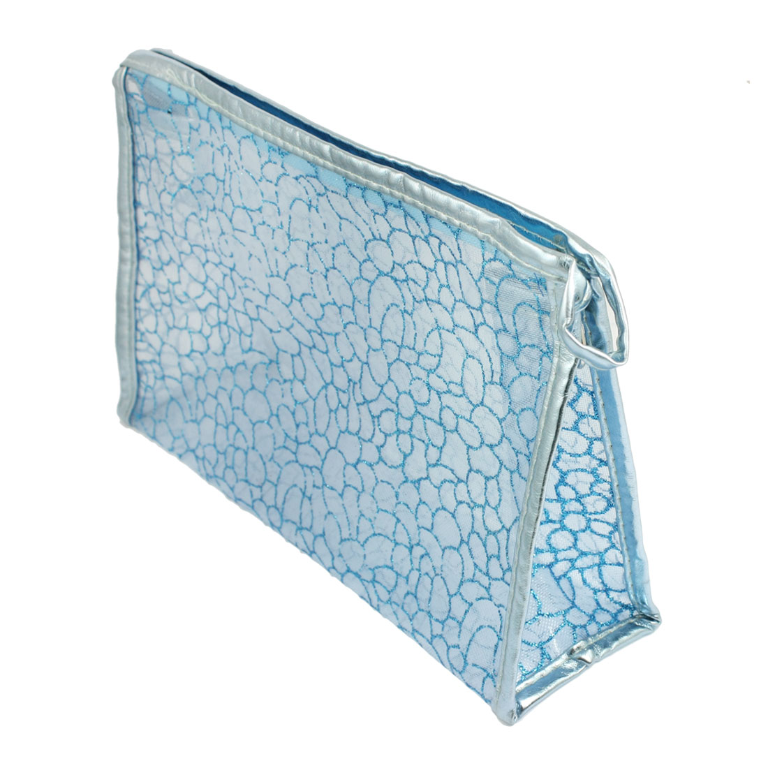 Light Blue Rectangle Shape Glittery Mesh Cosmetic Bag Holder for Lady