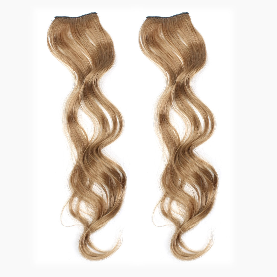 2 Pcs Lady Curl Style Ponytail Brown Long Wave Wig Hair Piece