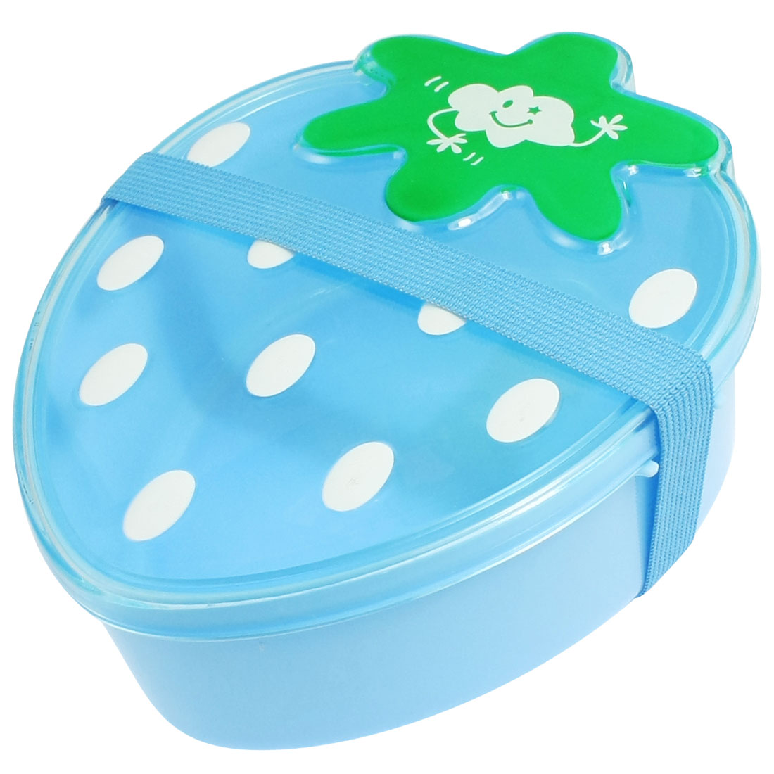 Blue Plastic Strawberry Shape Lunch Box Food Container w Spoon