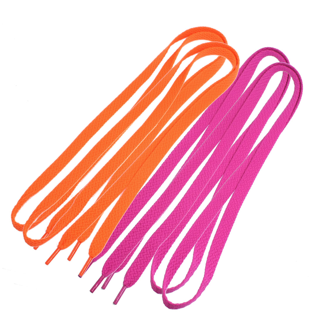 2 Pairs Flat Canvas Sneakers Sports Shoes Lace Shoelaces Orange Fuchsia