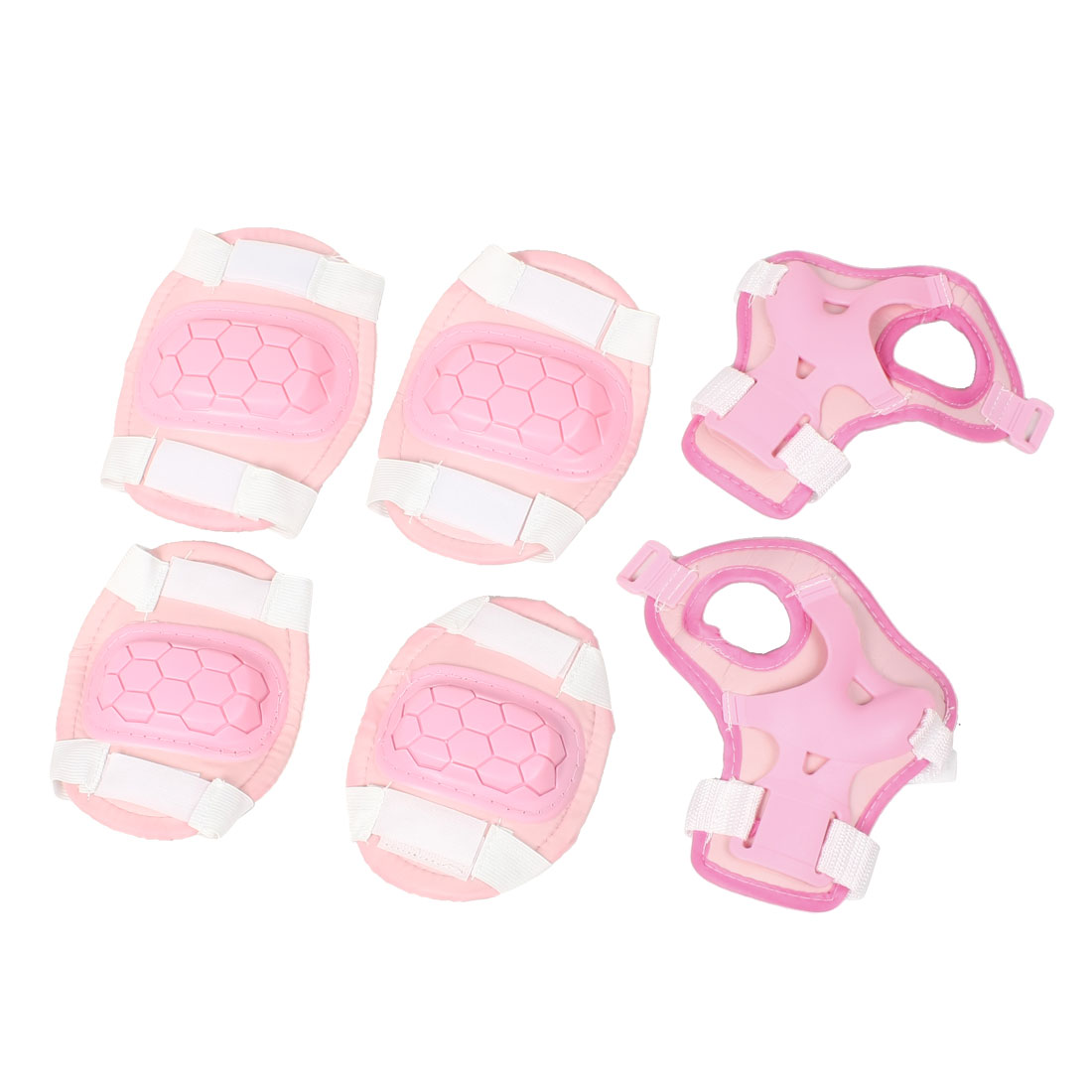Children Detachable Closure Skating Wrist Elbow Knee Support Pad Pink