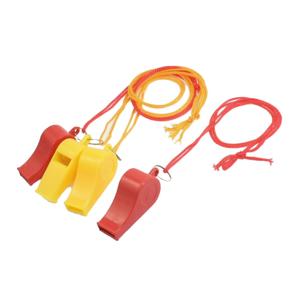 4 Pcs Nylon Strap Red Yellow Plastic Sports Game Match Referee Whistle Toy