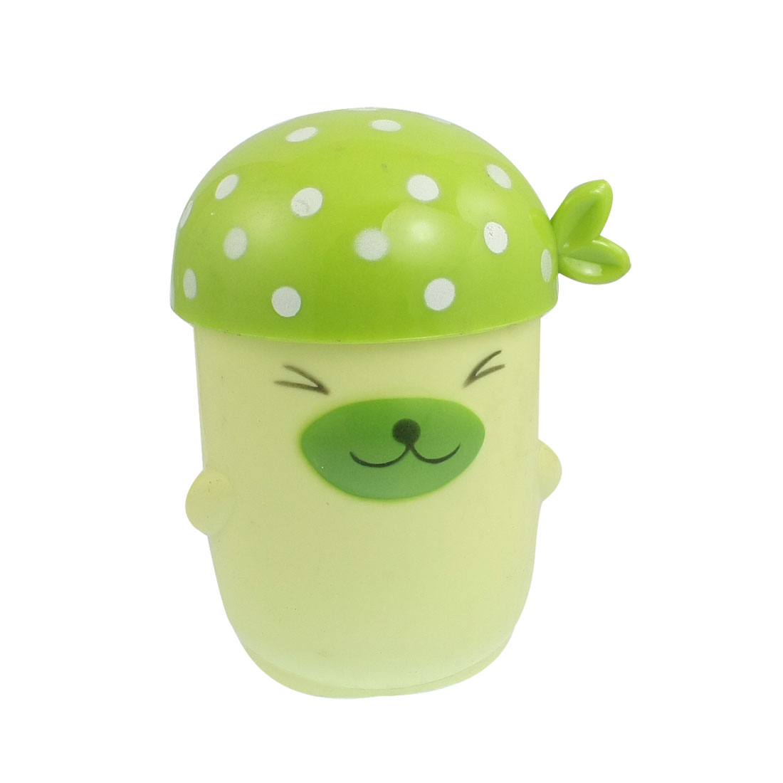 Kids White Dotted Print Lid Plastic Dog Style Drink Cup Green