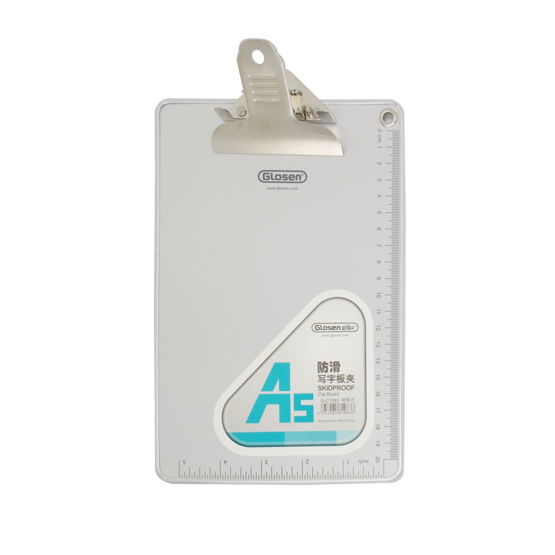 23cm x 15.5cm Plastic Gray Inch Scale Prints A5 Paper Clip Board