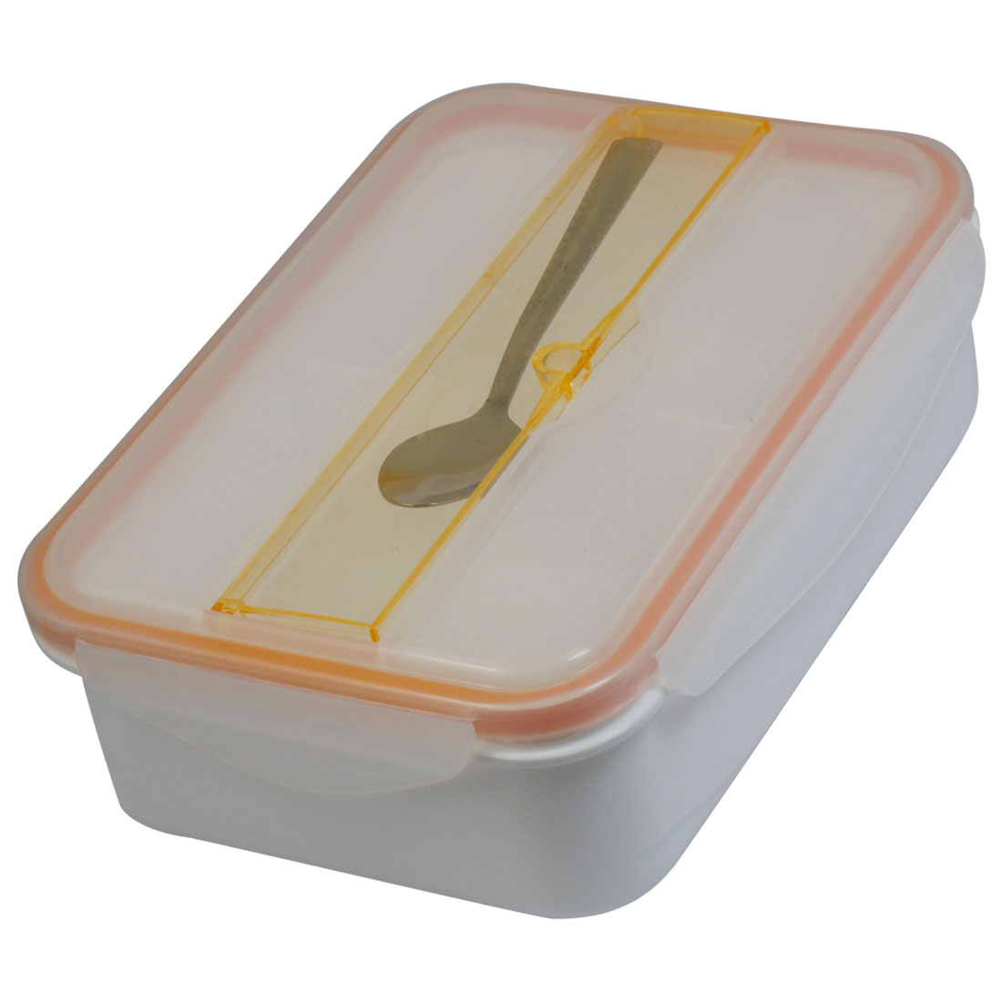 Metal Spoon Rectangle Shape Orange White Clear Plastic Outdoor Dinner Pail