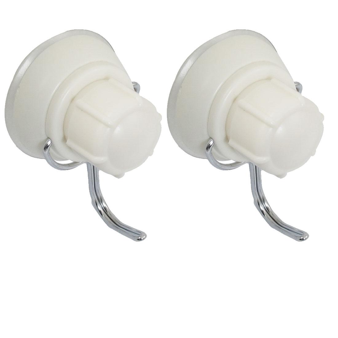2 Pcs Bathroom 40mm Dia Suction Cup 1.5kg Load Beige Cover Hook Hanger