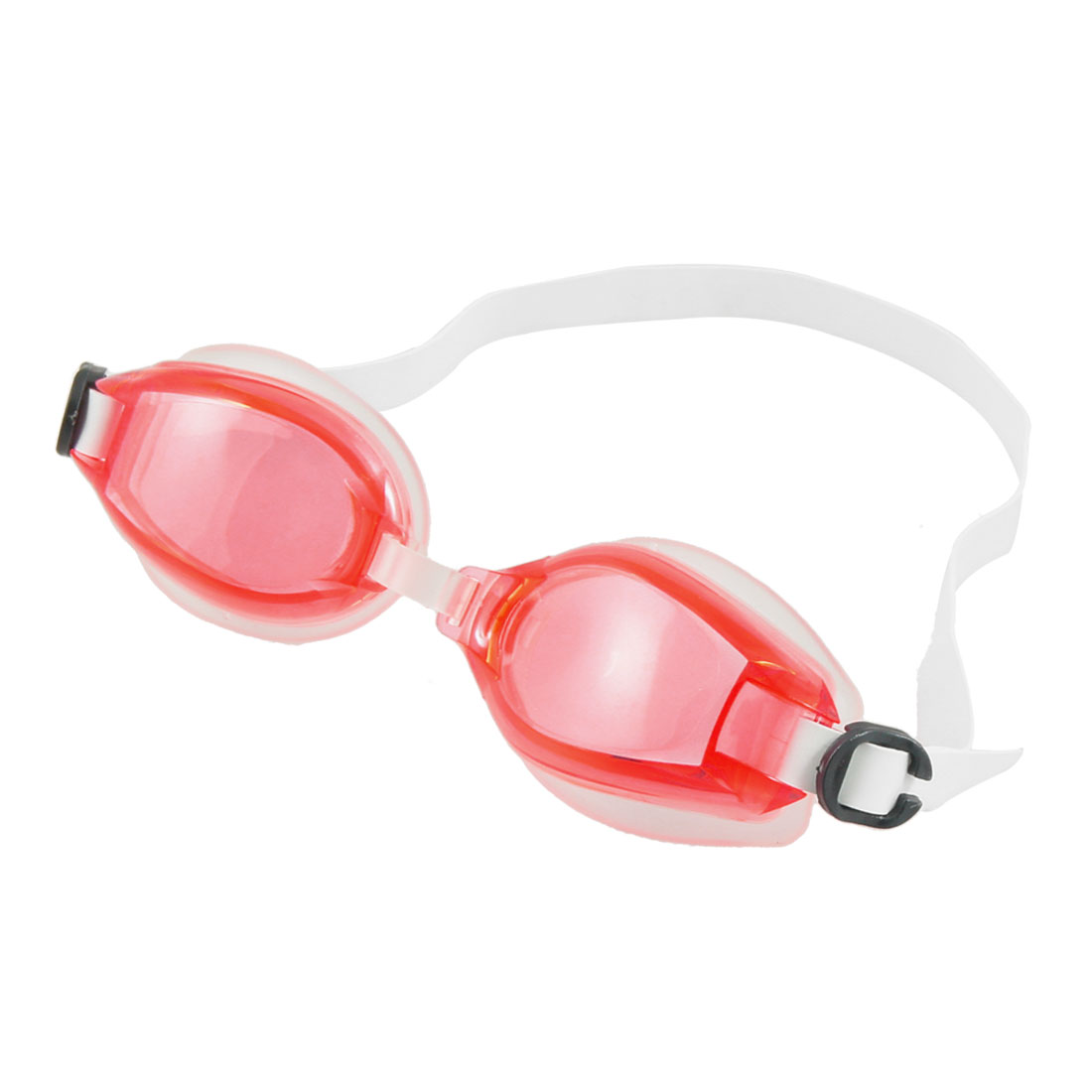 White Silicone Strap Clear Red Plastic Lens Swimming Goggles Eyeglasses for Children