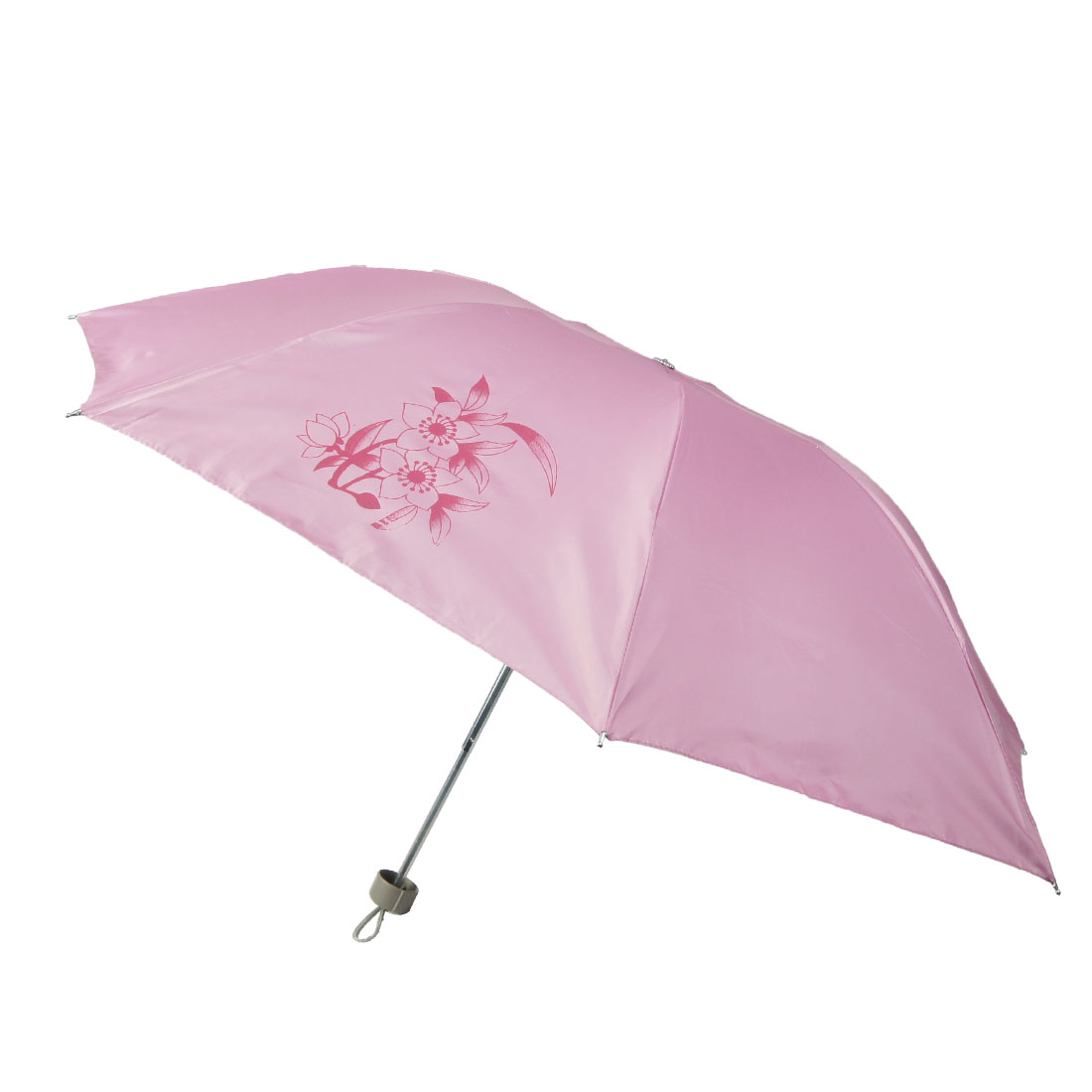 Gray Plastic Handle Red Flower Pattern Light Pink Retractable Umbrella