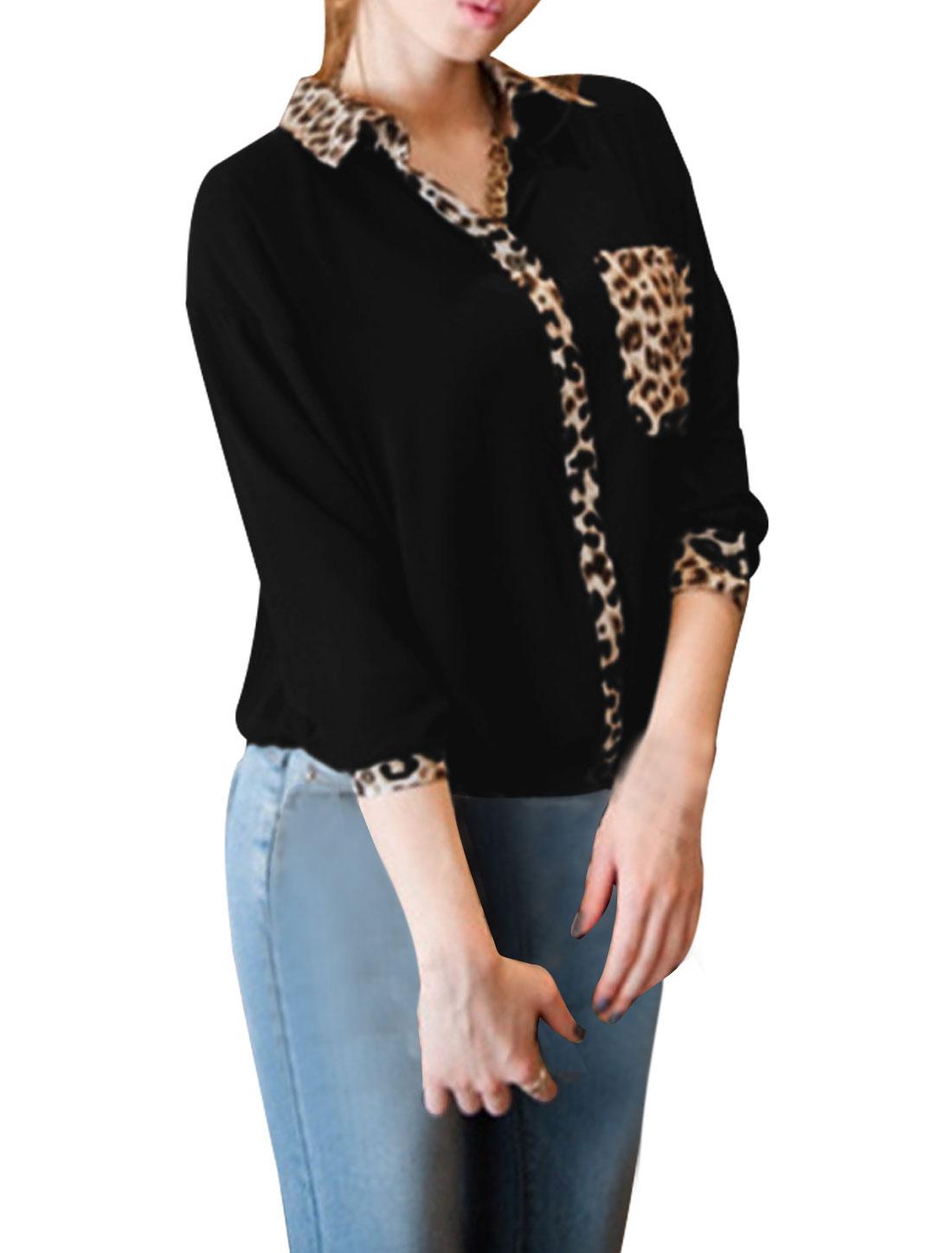 Ladies Black Long Sleeves Leopard Prints Autumn Casual Blouse XS