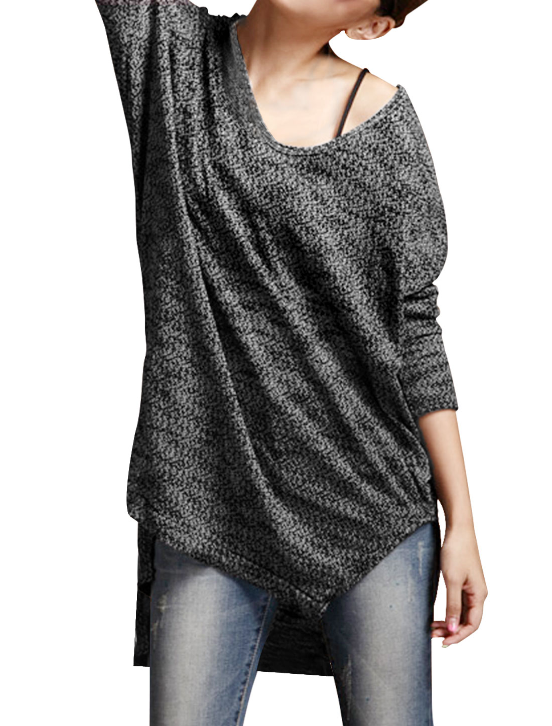 Ladies Black V Neck Long Sleeves Pullover Autumn Casual Tunic Shirt XS
