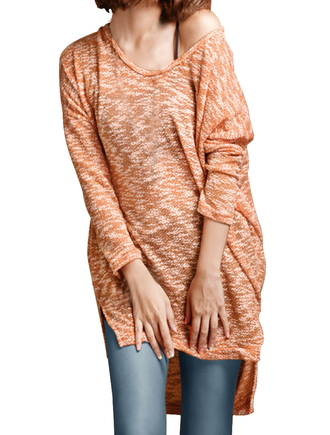 Ladies Orange Dipped Hem Side Split Design Pullover Spring Tunic Shirt XS
