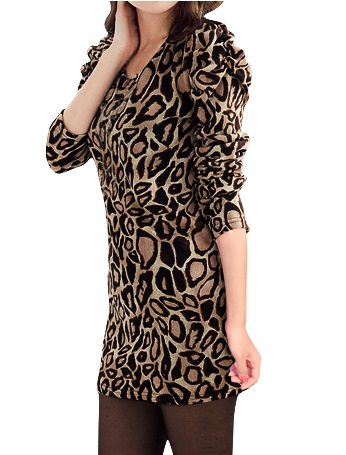 Ladies Coffee Color Puff Sleeves Leopard Prints Tunic Shirt XS