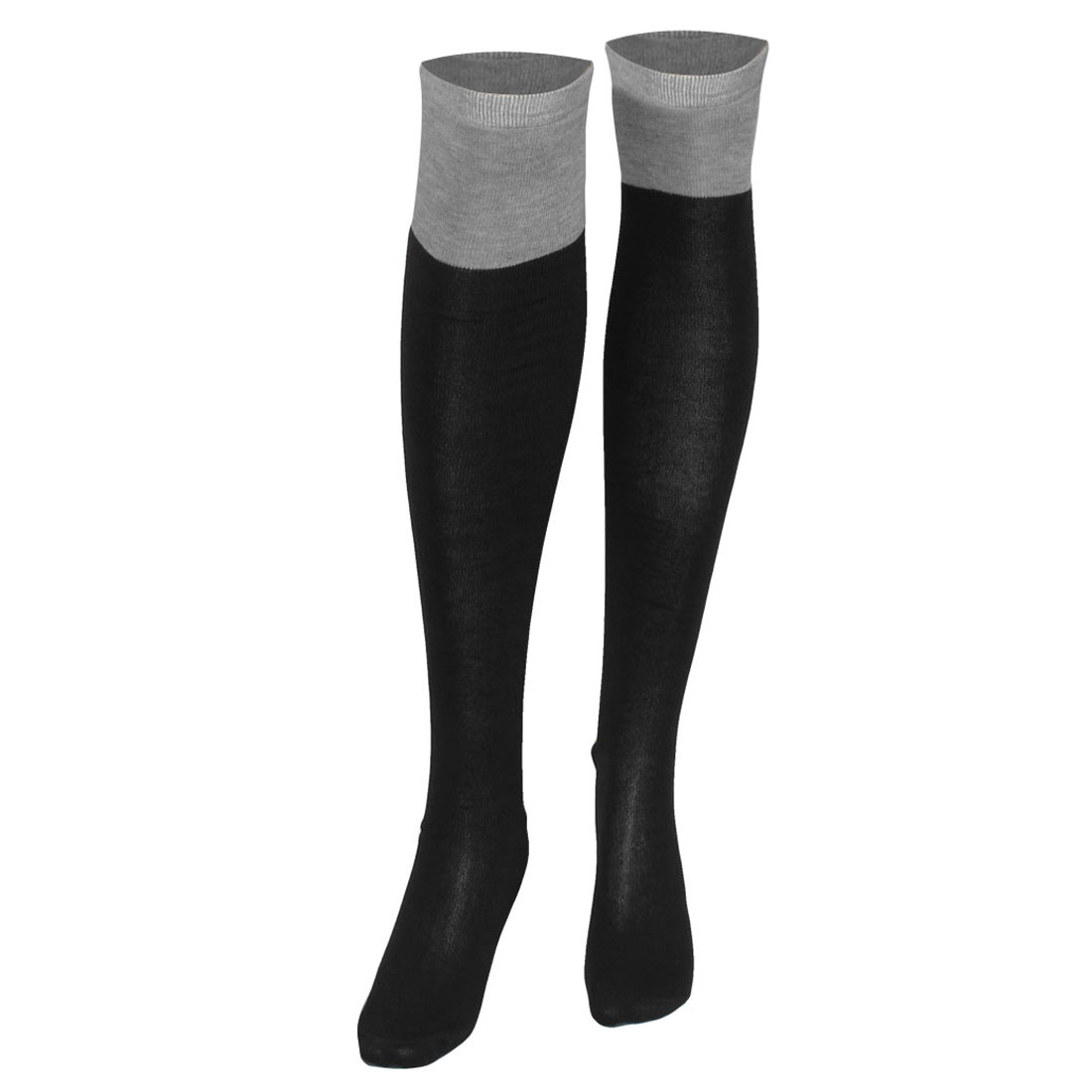 Women Light Gray Color Contrast Stretchy Knee High Socks Stockings