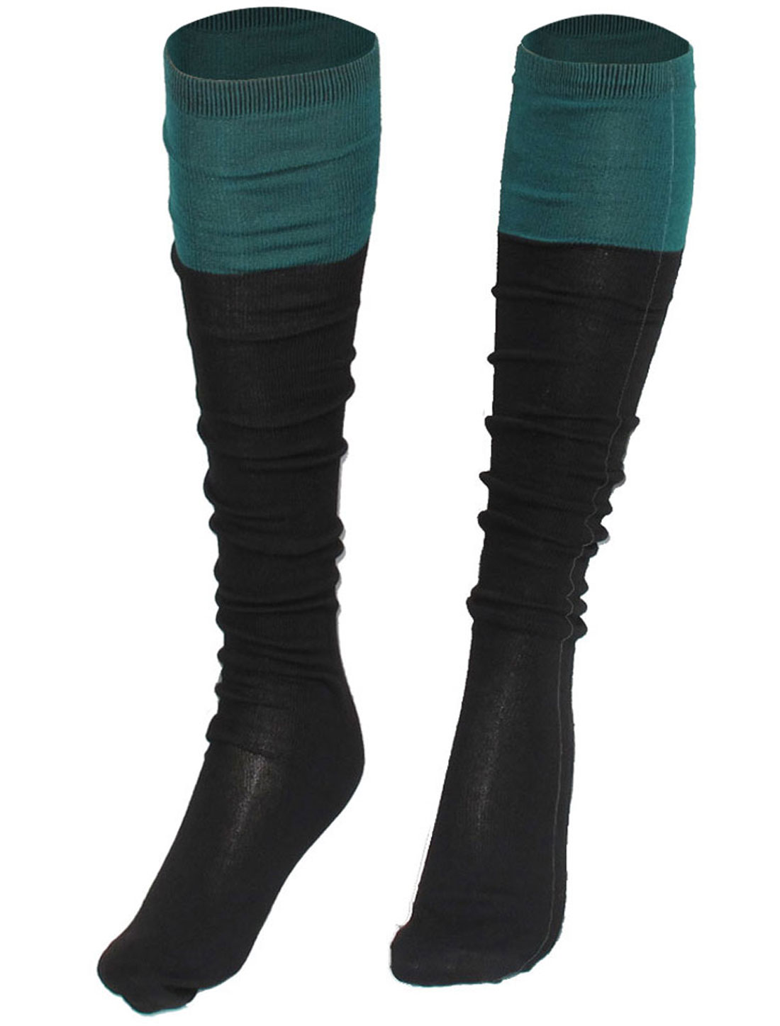 Color Contrast Fleece Elastic Knee High Socks Stockings Green for Ladies