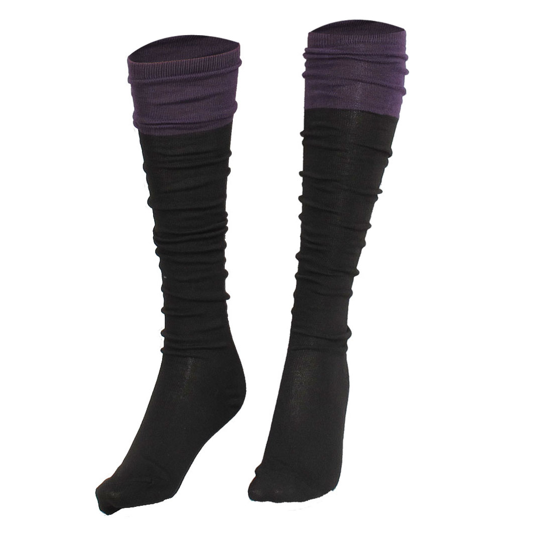 Dark Purple Color Contrast Stretchy Fleece Socks Stockings for Ladies