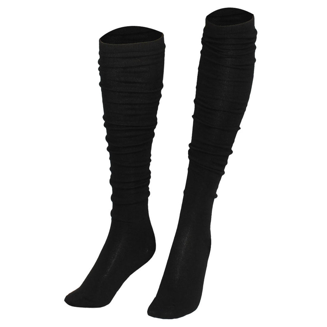 Black Solid Color Fleece Stretchy Thigh High Socks Stockings for Women
