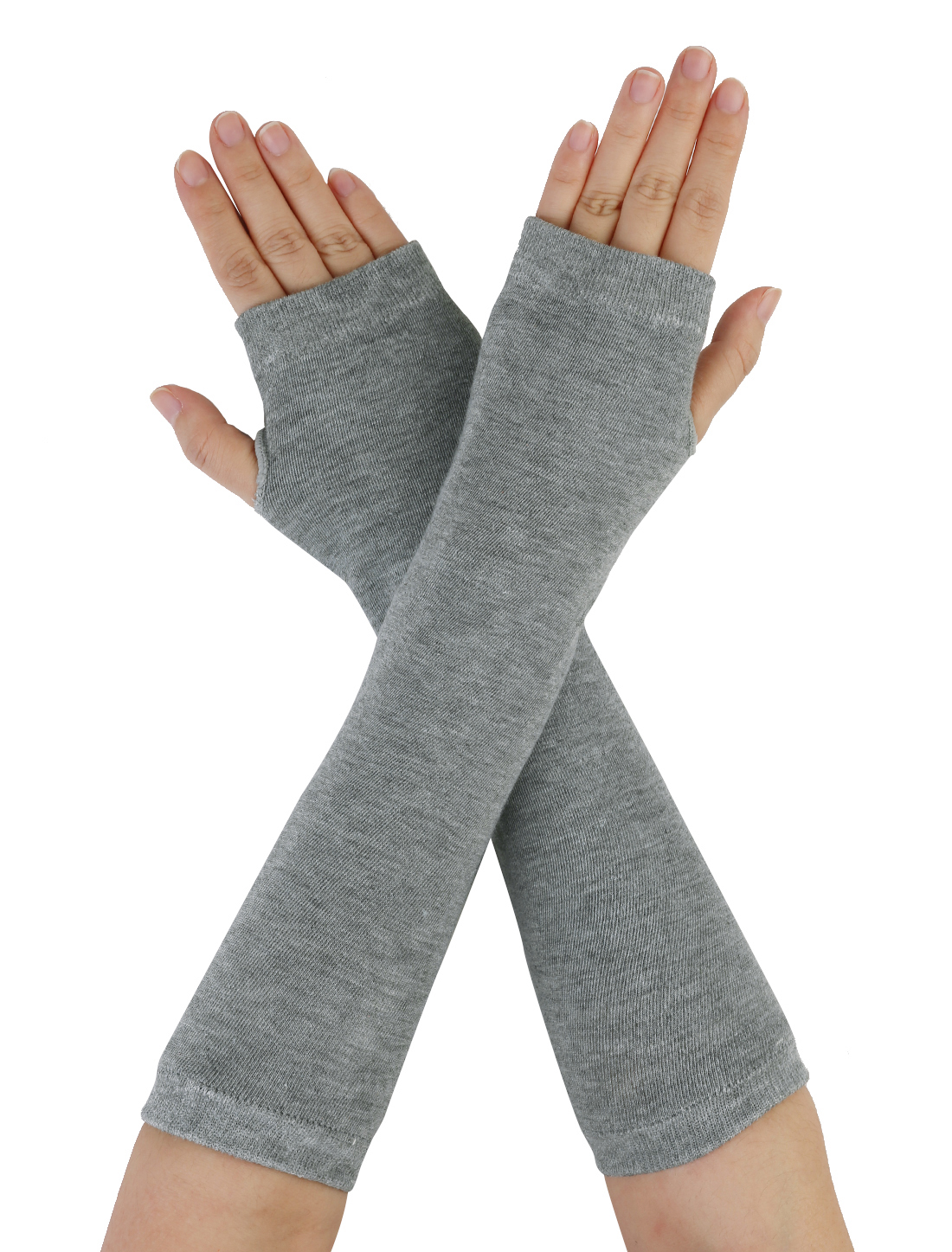 Light Gray Stretchy Fingerless Thumbhole Arm Warmer Gloves for Women