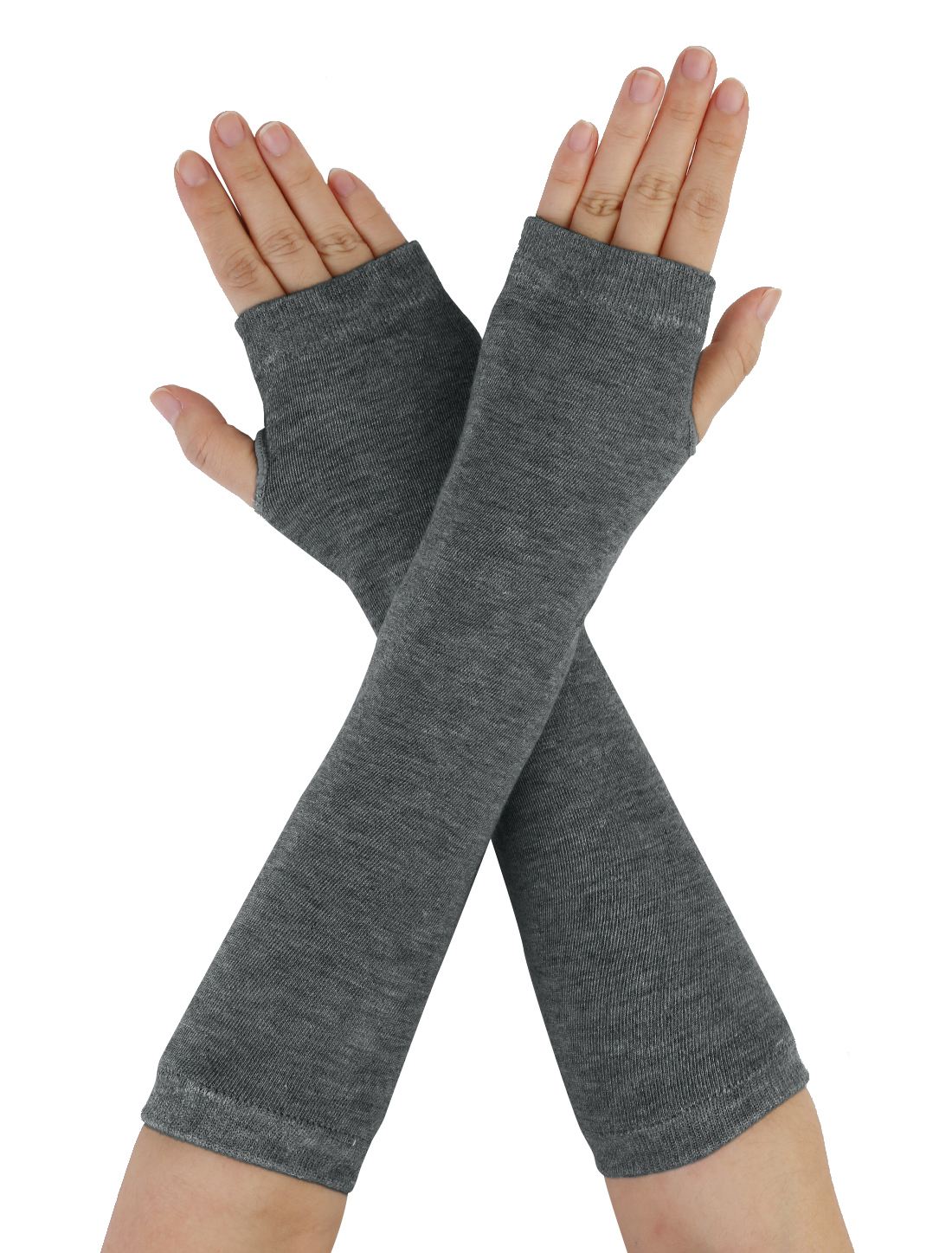 Dark Gray Fingerless Elastic Winter Thick Arm Warmers Gloves for Ladies