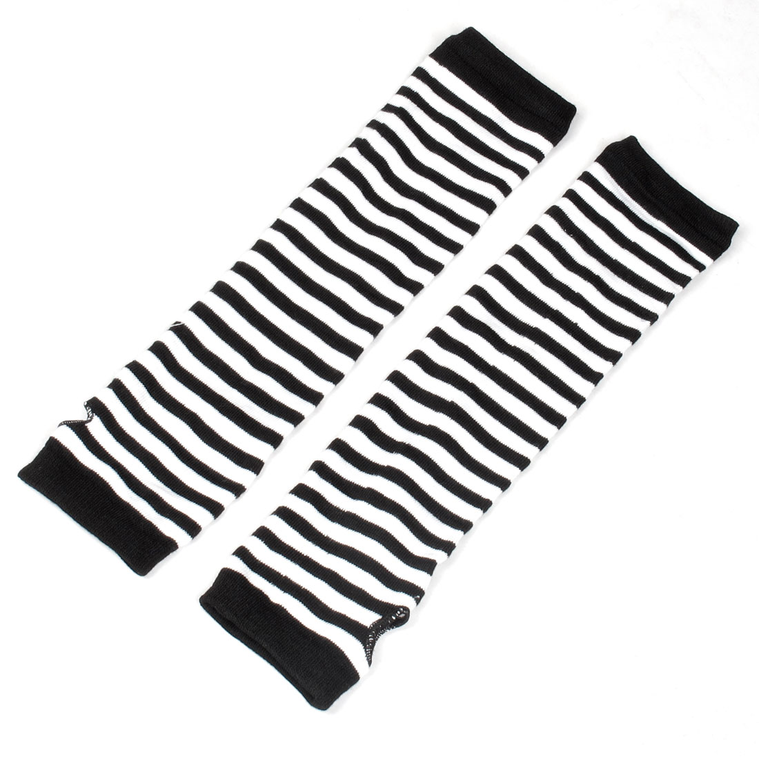 Black White Stripes Pattern Stretchy Knitted Warmers Gloves for Ladies