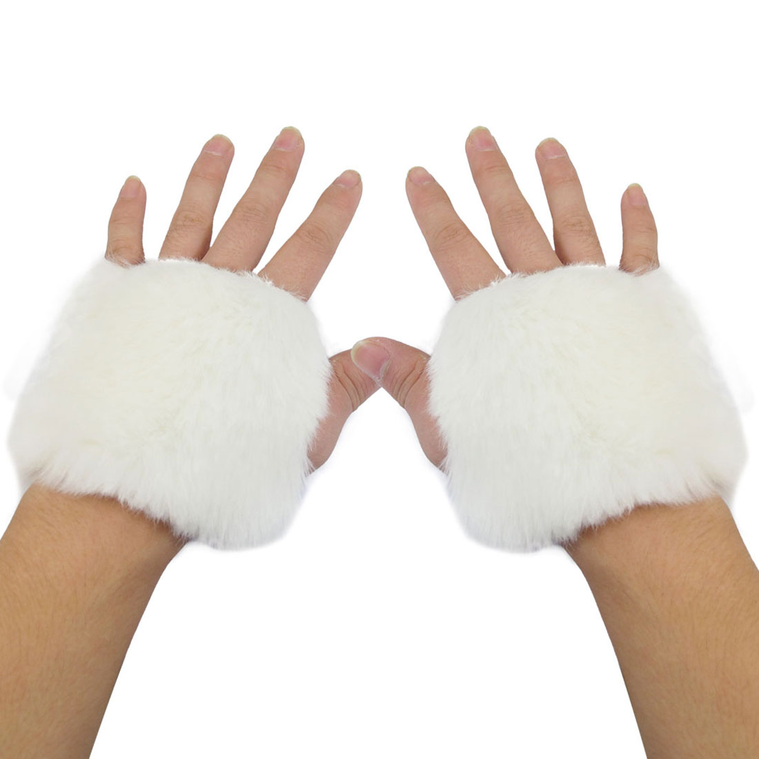 Ladies Pair White Faux Fur Covered Fingerless Warmer Gloves