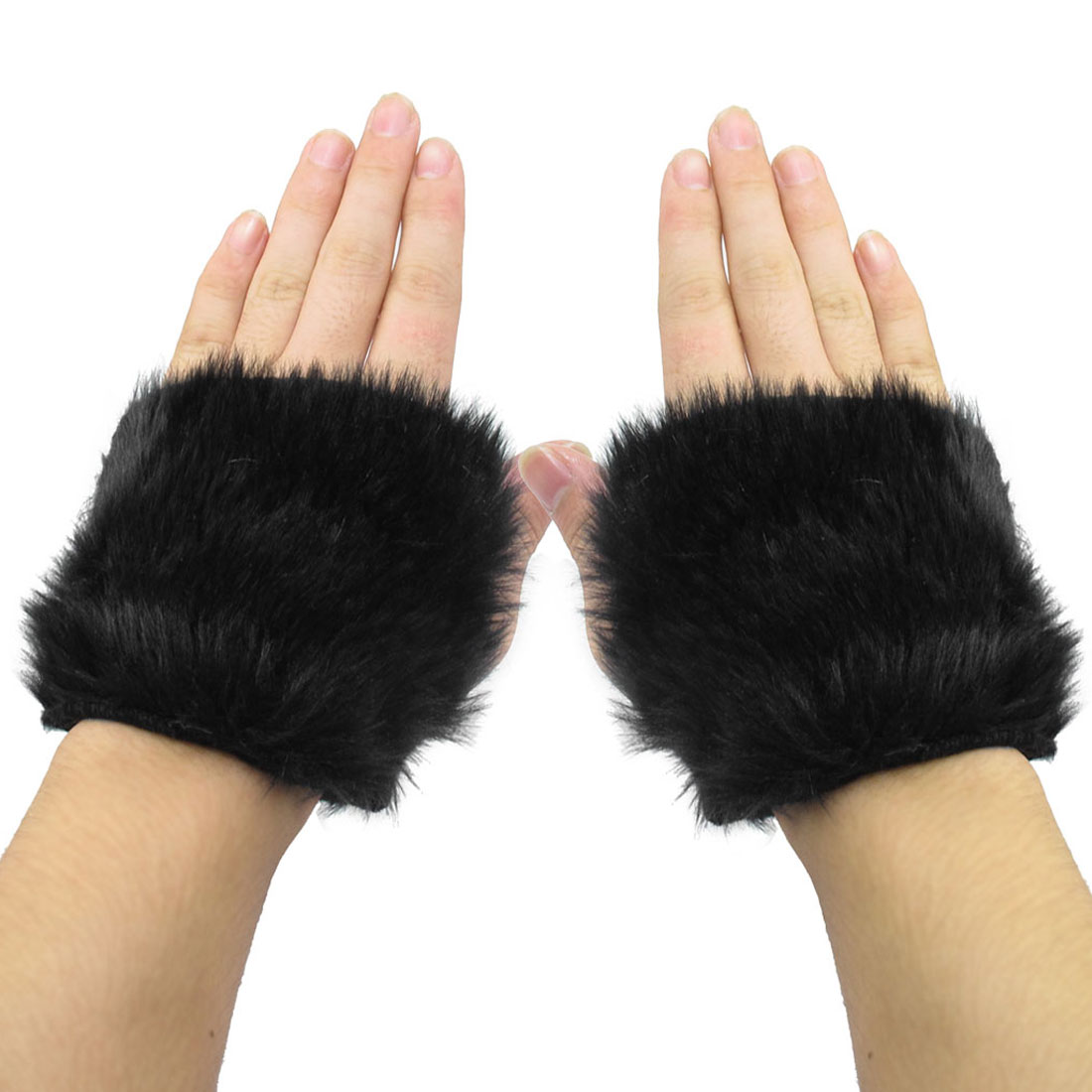 Pair Black Fingerless Faux Fur Covered Winter Hand Warmer Gloves for Ladies