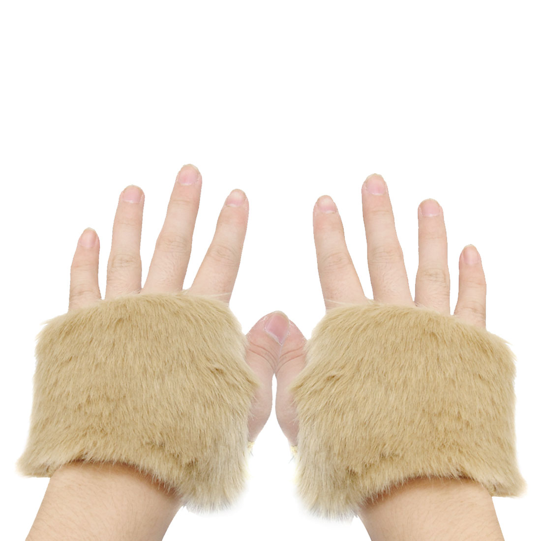 Pair Dark Beige Faux Fur Fingerless Winter Wrist Gloves for Ladies
