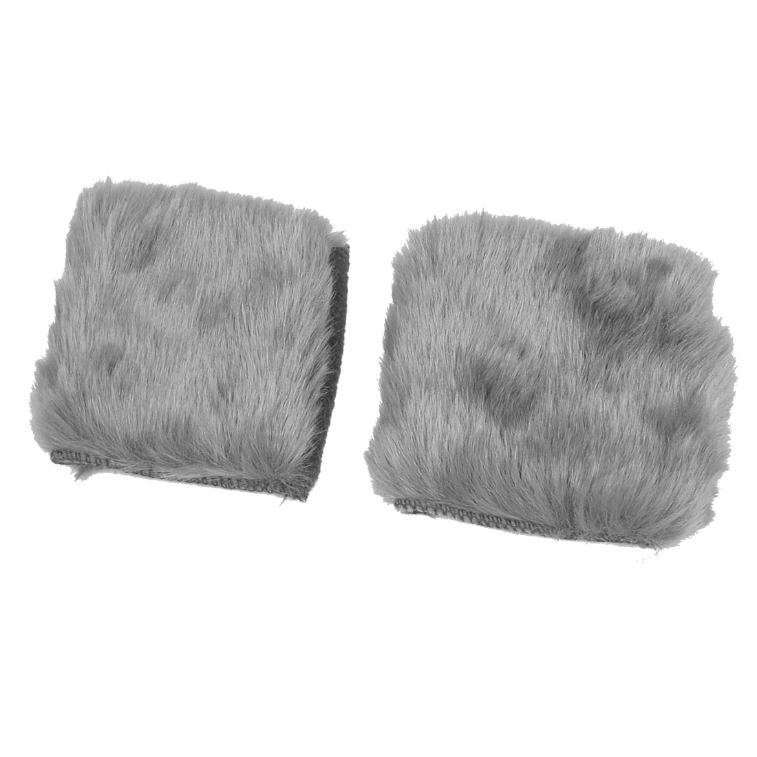 Gray Faux Fur Hand Wrist Warmer Fingerless Gloves for Ladies