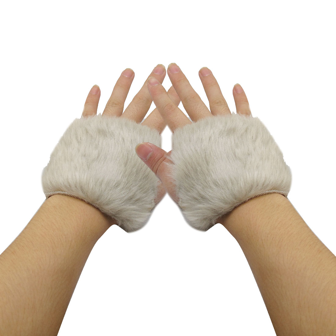Pair Light Gray Faux Fur Covered Hand Wrist Warmers Gloves for Women