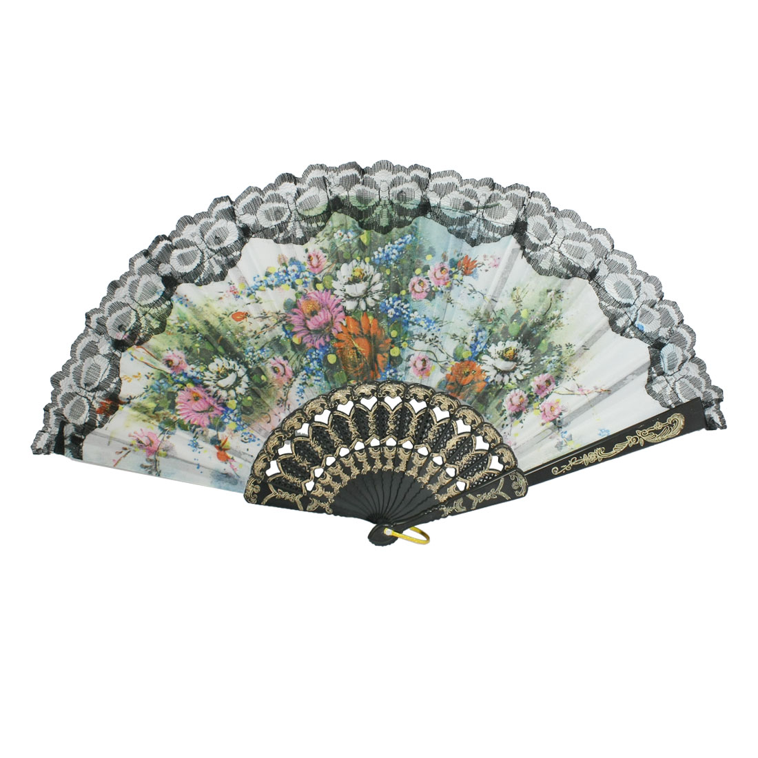 Multicolor Flower Pattern Fabric Lace Edge Folding Hand Fan