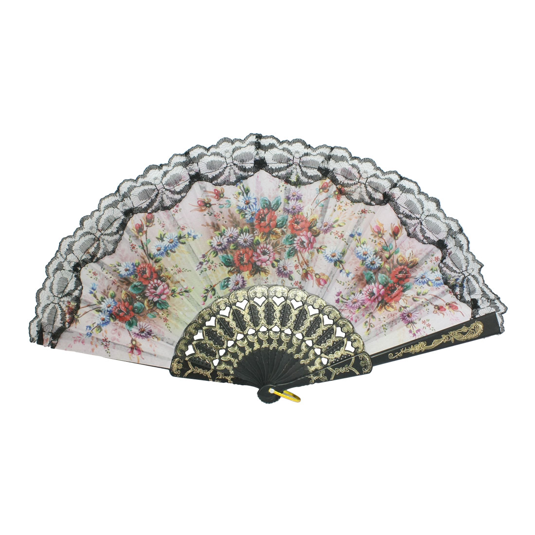 Black Plastic Rib Red Flower Pattern Fabric Folding Hand Fan