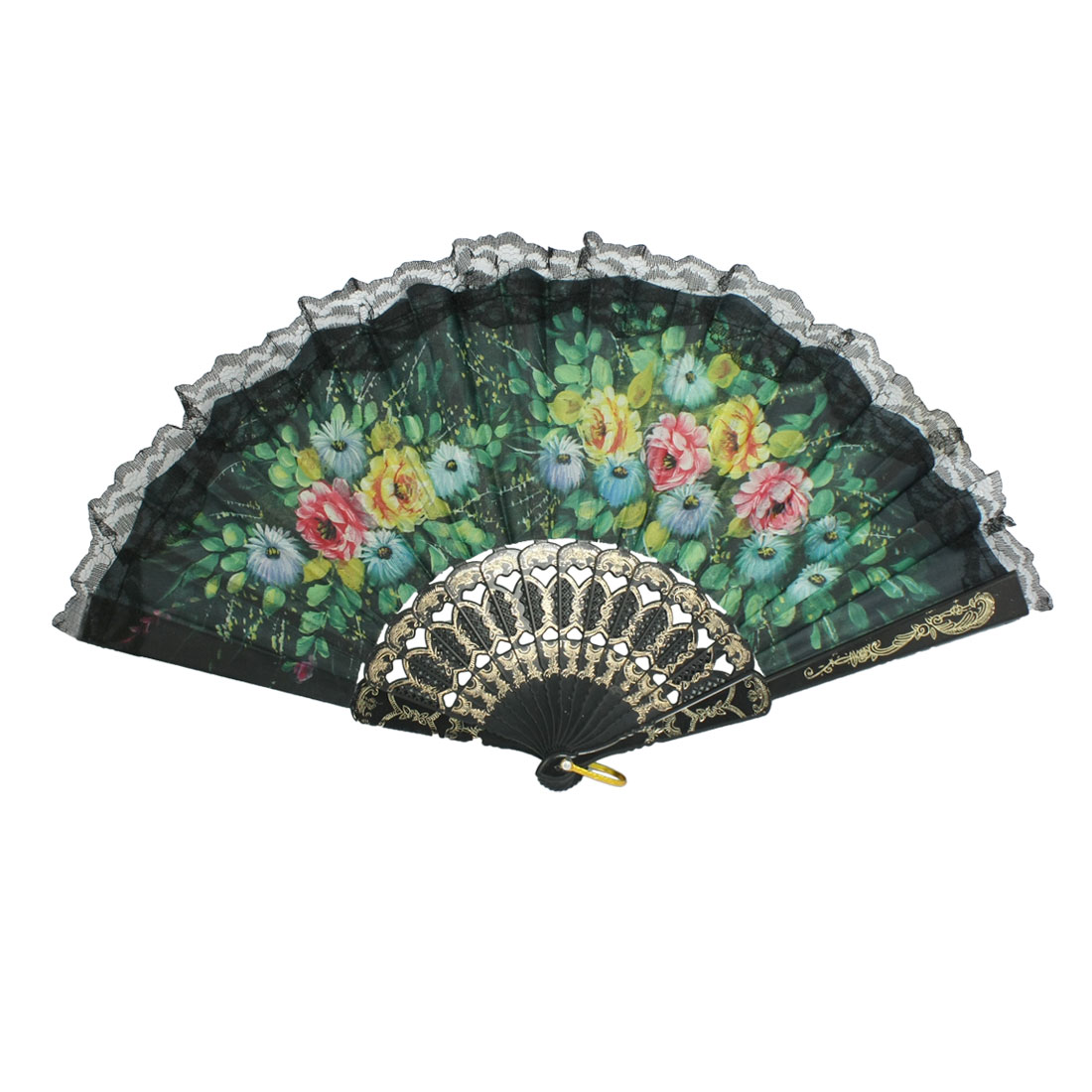 Yellow Flower Pattern Fabric Lace Folding Dancing Hand Fan