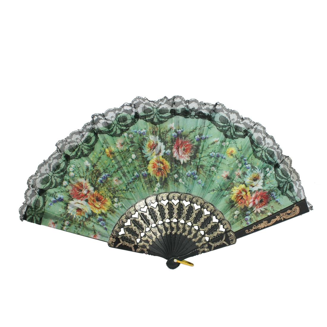 Green Flower Pattern Fabric Plastic Folding Dancing Hand Fan