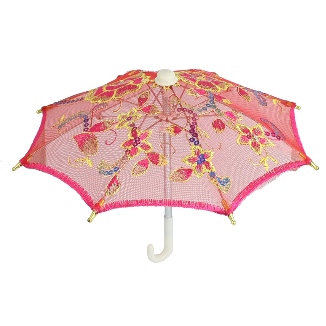 Fuchsia Embroider Flower Pattern Folding Mini Lace Umbrella